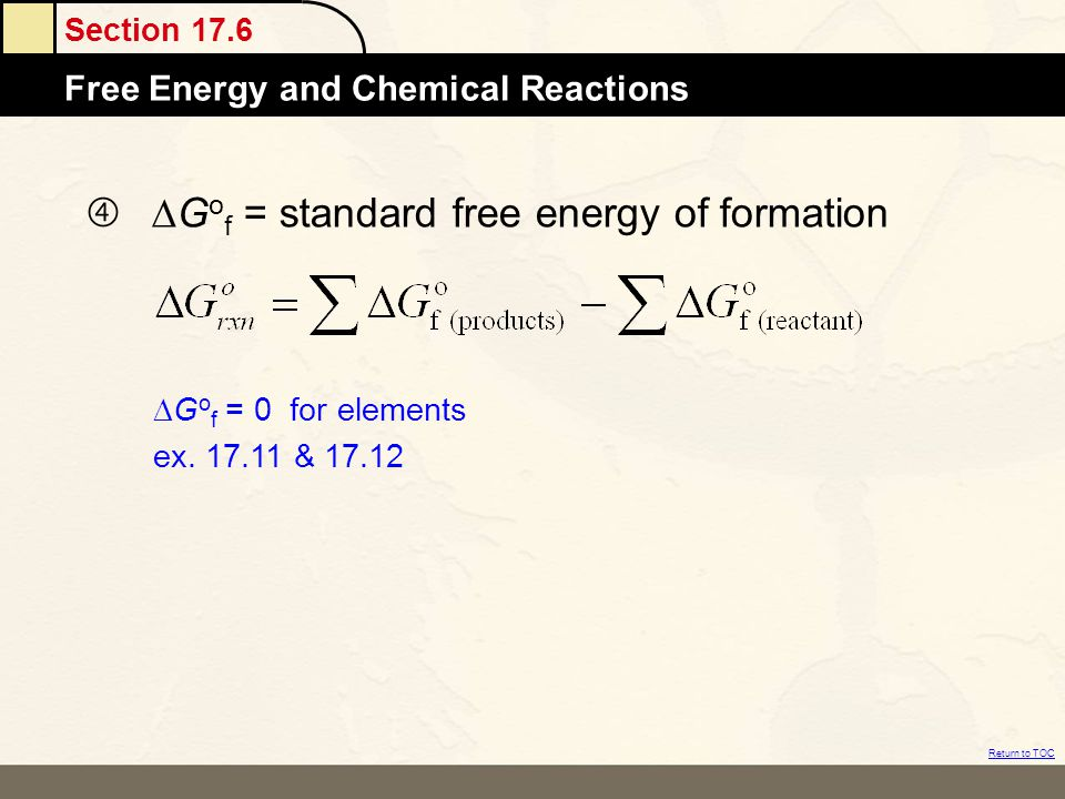  DGof = standard free energy of formation