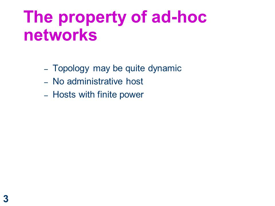 The property of ad-hoc networks