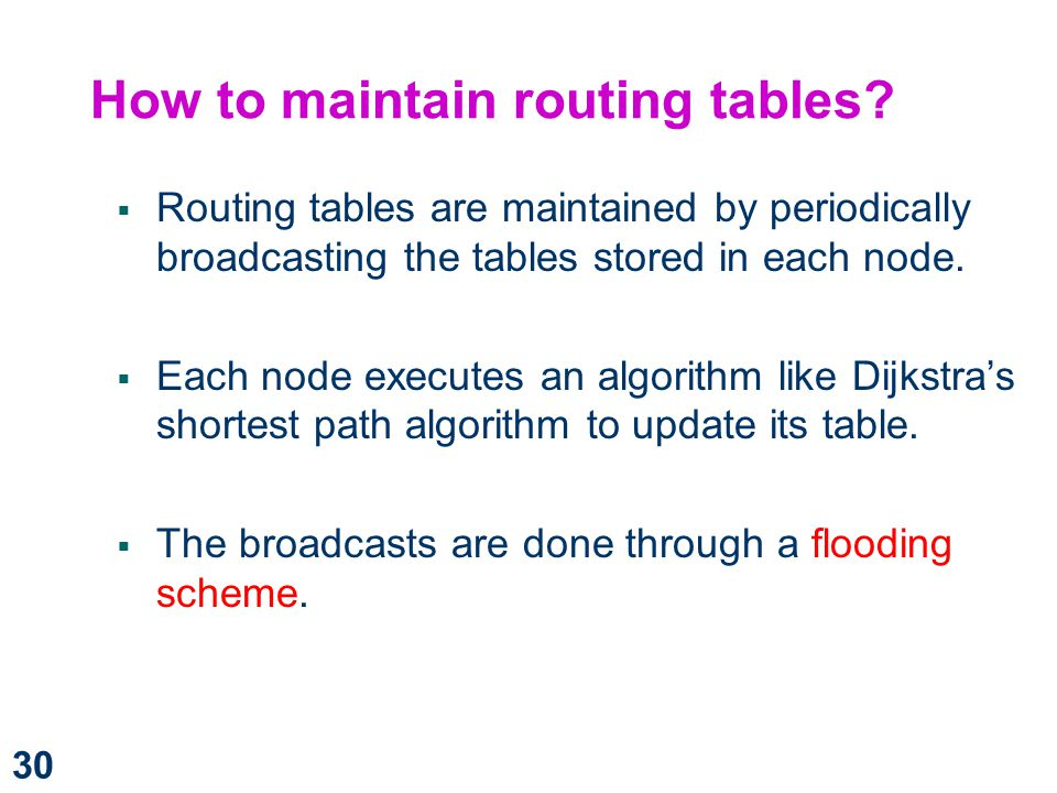 How to maintain routing tables