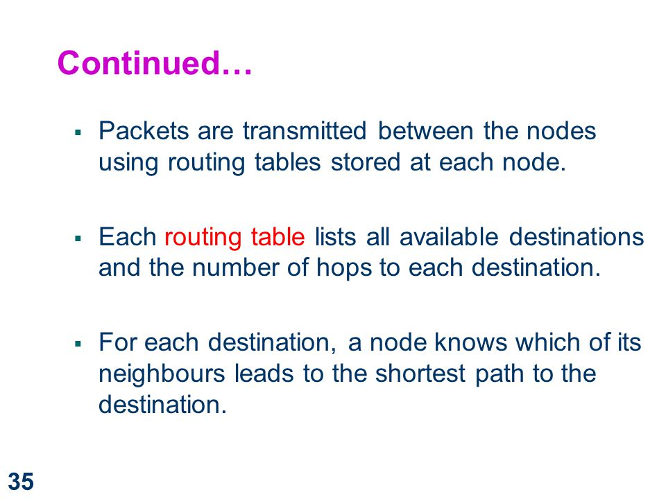 Continued… Packets are transmitted between the nodes using routing tables stored at each node.