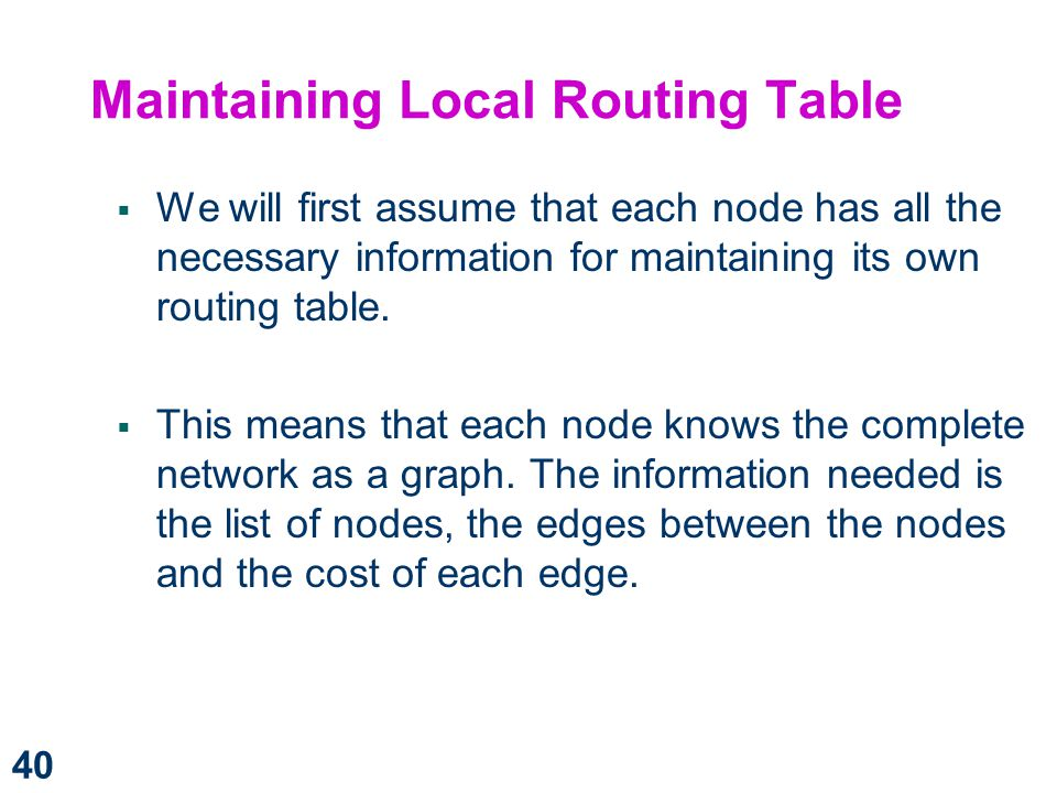 Maintaining Local Routing Table