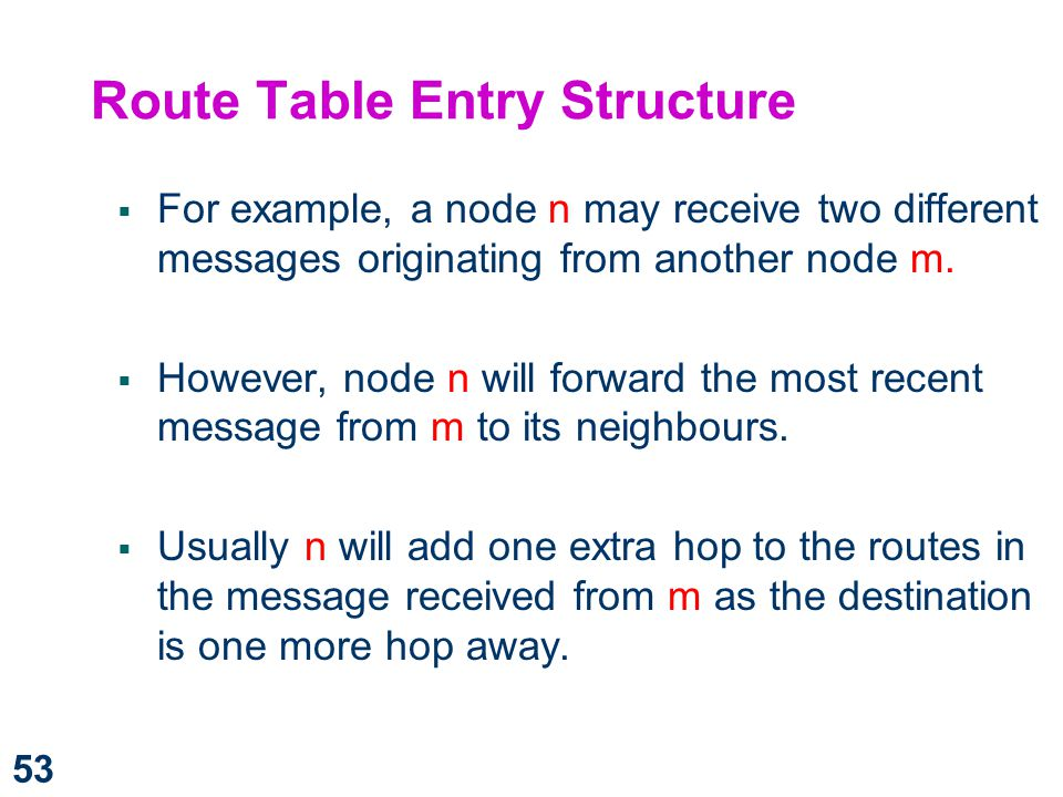 Route Table Entry Structure