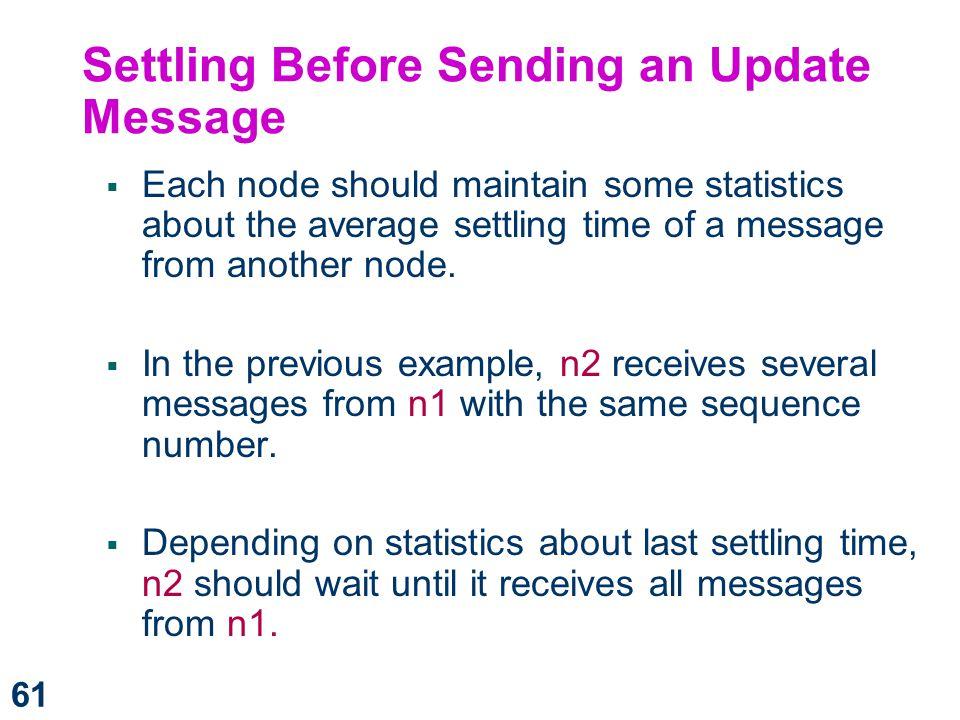 Settling Before Sending an Update Message
