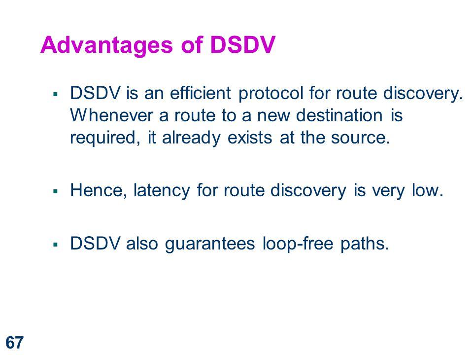 Advantages of DSDV