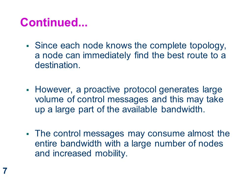 Continued... Since each node knows the complete topology, a node can immediately find the best route to a destination.