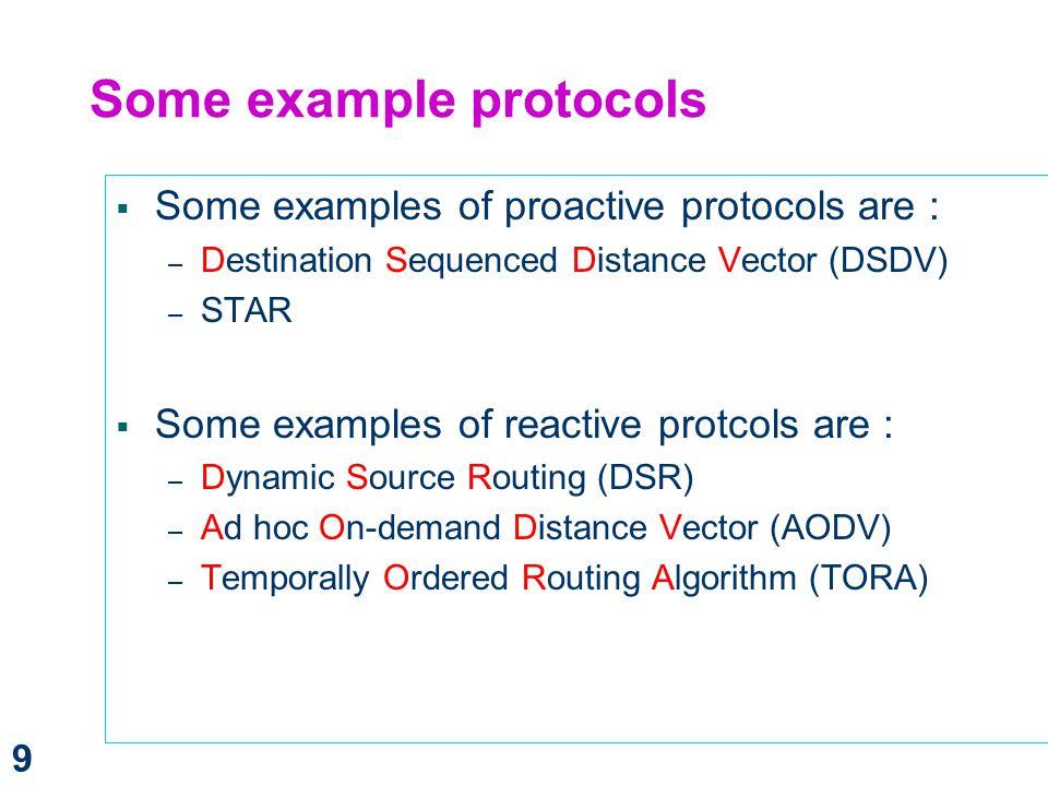 Some example protocols
