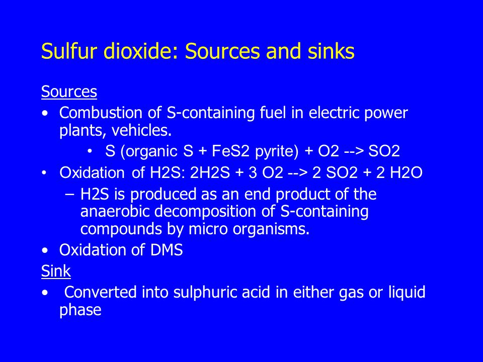 Sulfur dioxide: Sources and sinks