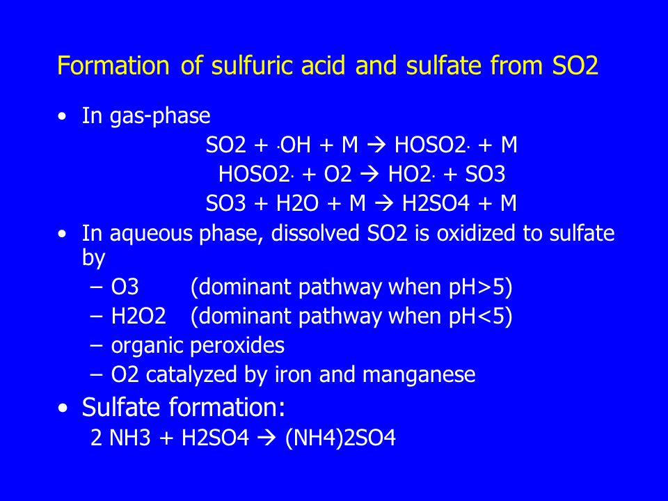 Formation of sulfuric acid and sulfate from SO2