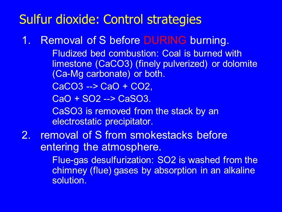 Sulfur dioxide: Control strategies