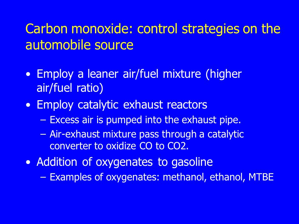 Carbon monoxide: control strategies on the automobile source