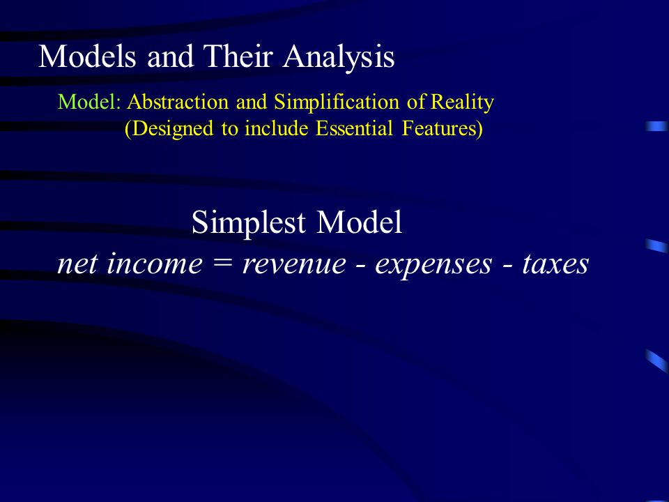 Models and Their Analysis