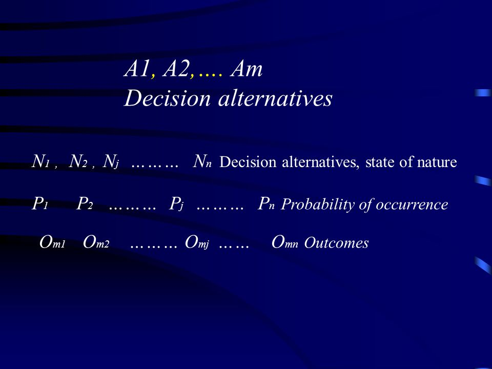 A1, A2,…. Am Decision alternatives