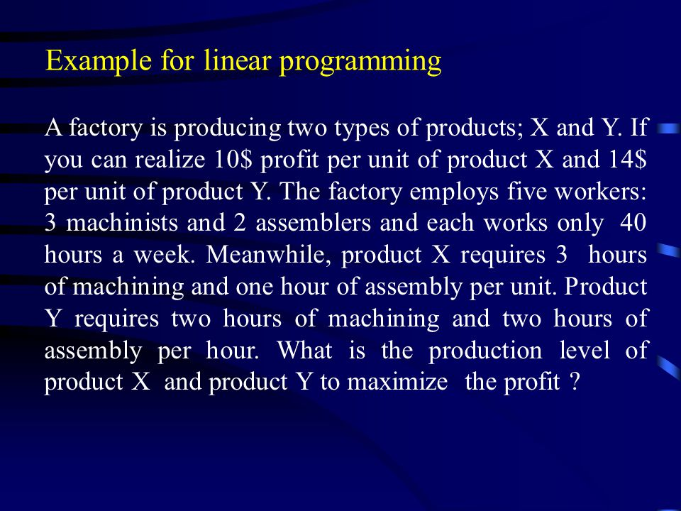 Example for linear programming