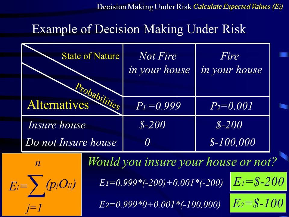  Example of Decision Making Under Risk Alternatives