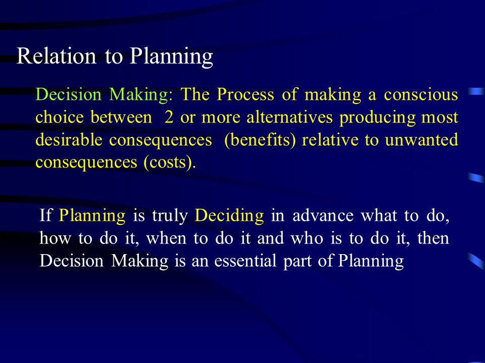 Relation to Planning