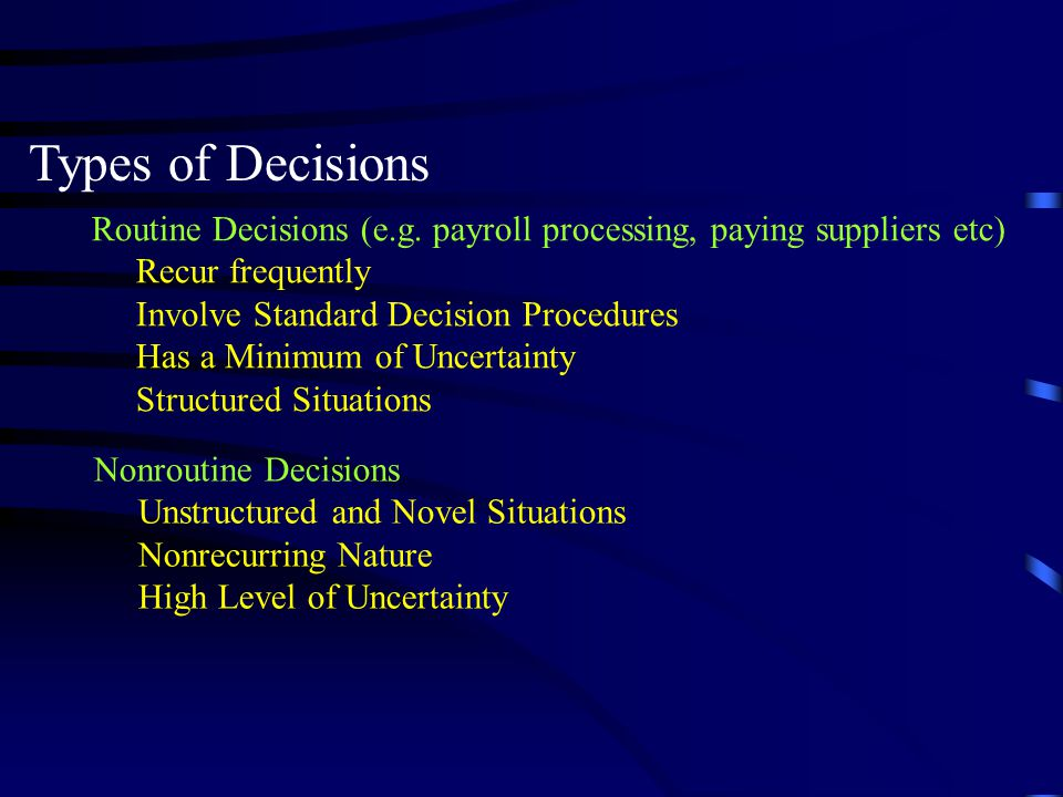 Types of Decisions Routine Decisions (e.g. payroll processing, paying suppliers etc) Recur frequently.