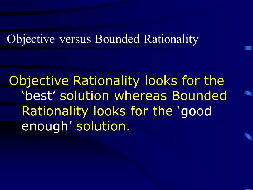 Objective versus Bounded Rationality