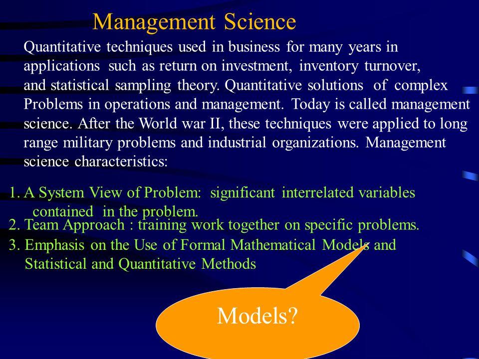 Management Science Models