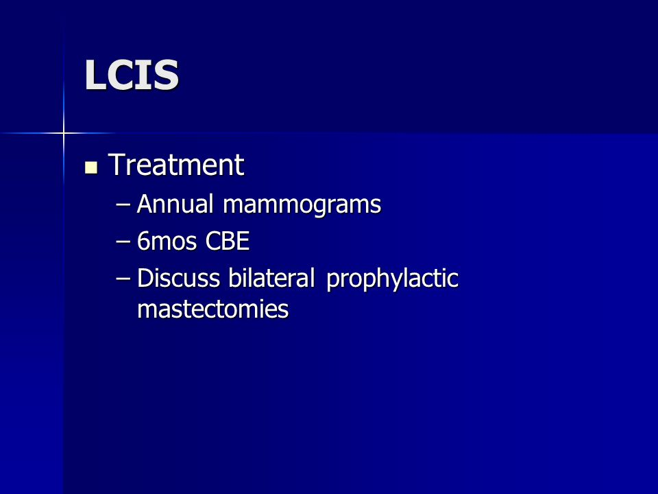 LCIS Treatment Annual mammograms 6mos CBE