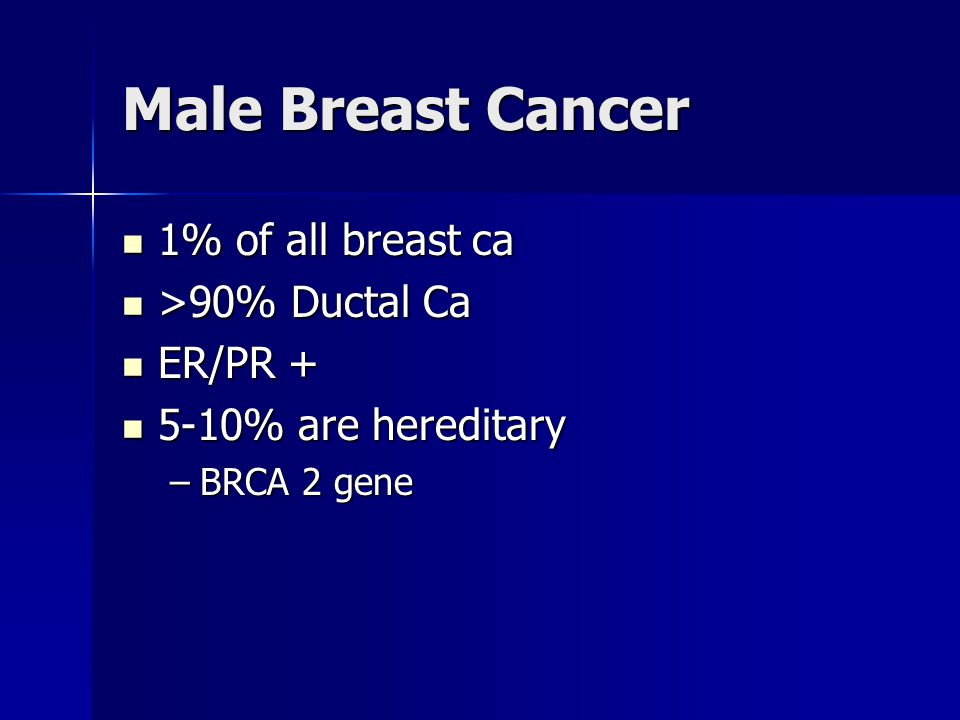 Male Breast Cancer 1% of all breast ca >90% Ductal Ca ER/PR +