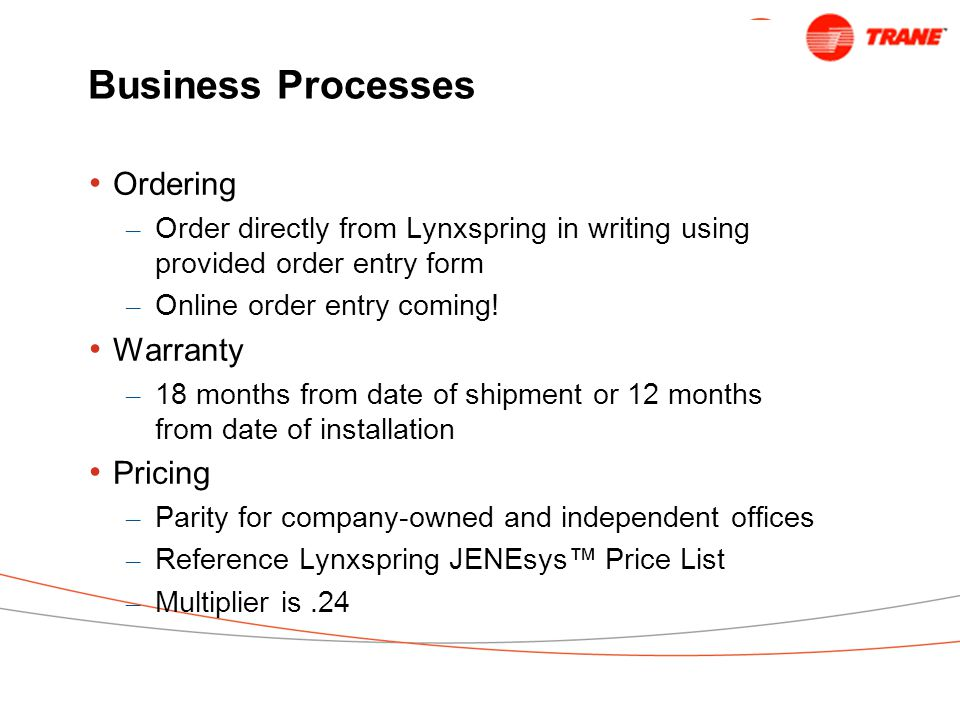 Business Processes Ordering Warranty Pricing