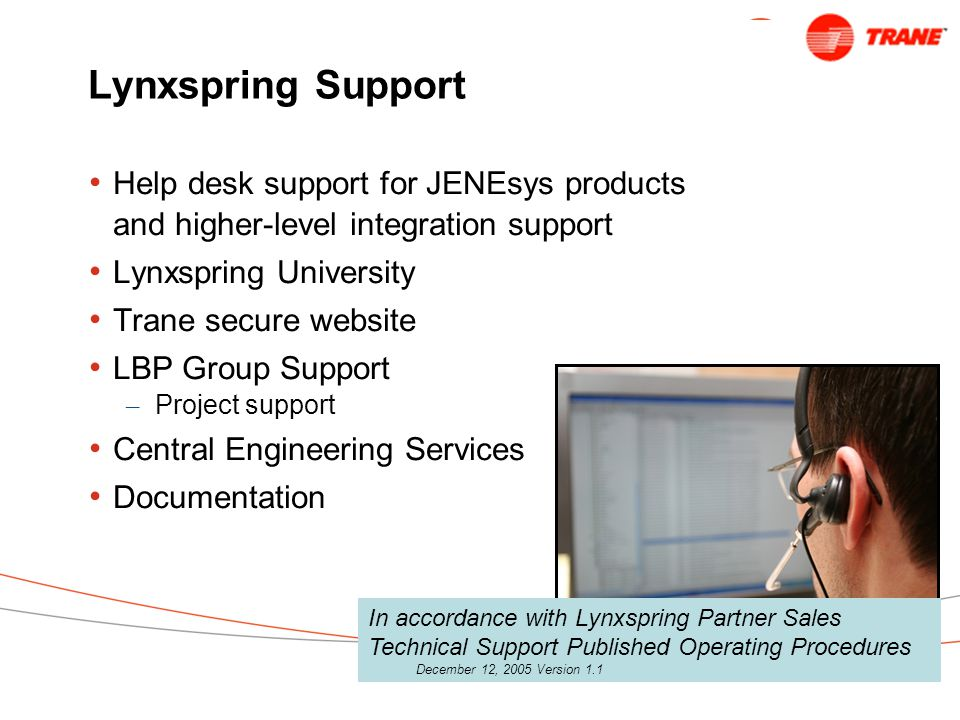 Lynxspring Support Help desk support for JENEsys products and higher-level integration support. Lynxspring University.