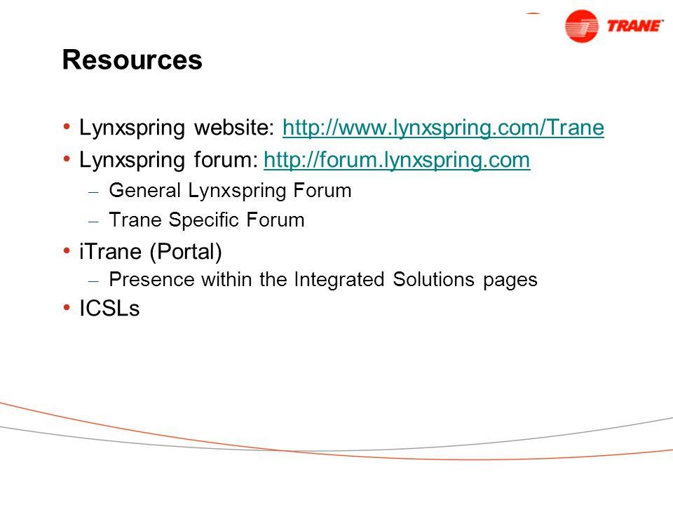 Resources Lynxspring website: http://www.lynxspring.com/Trane