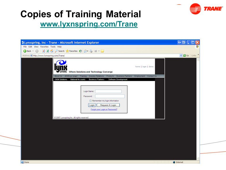 Copies of Training Material