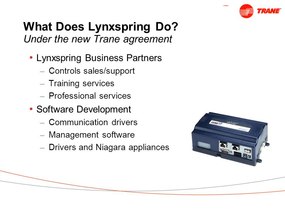 What Does Lynxspring Do Under the new Trane agreement