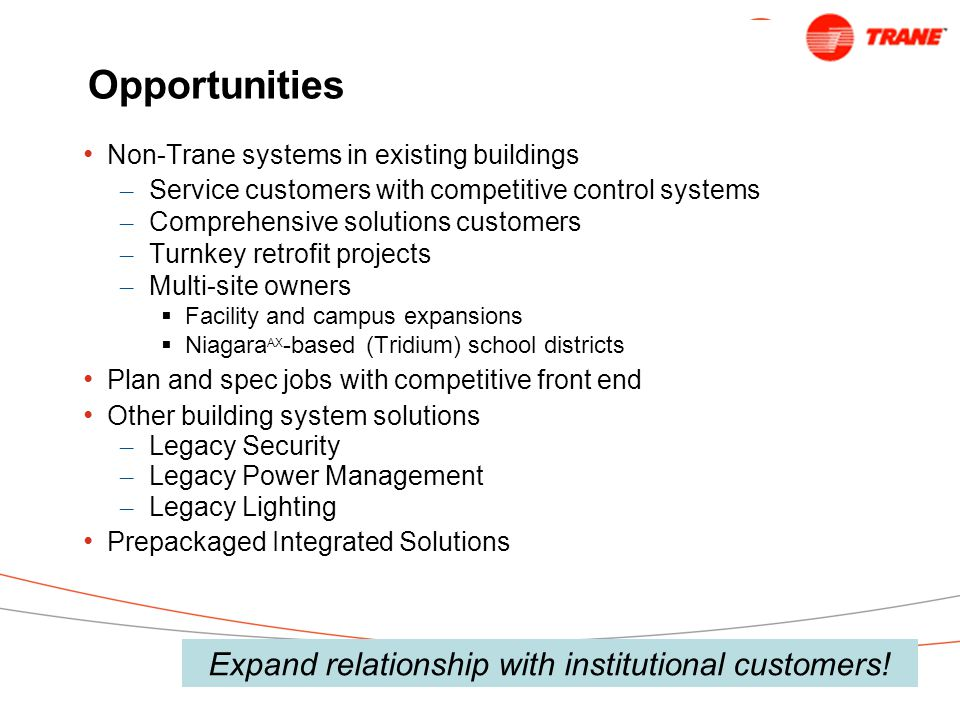 Expand relationship with institutional customers!