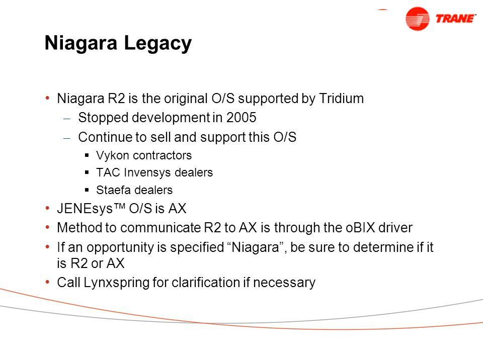 Niagara Legacy Niagara R2 is the original O/S supported by Tridium