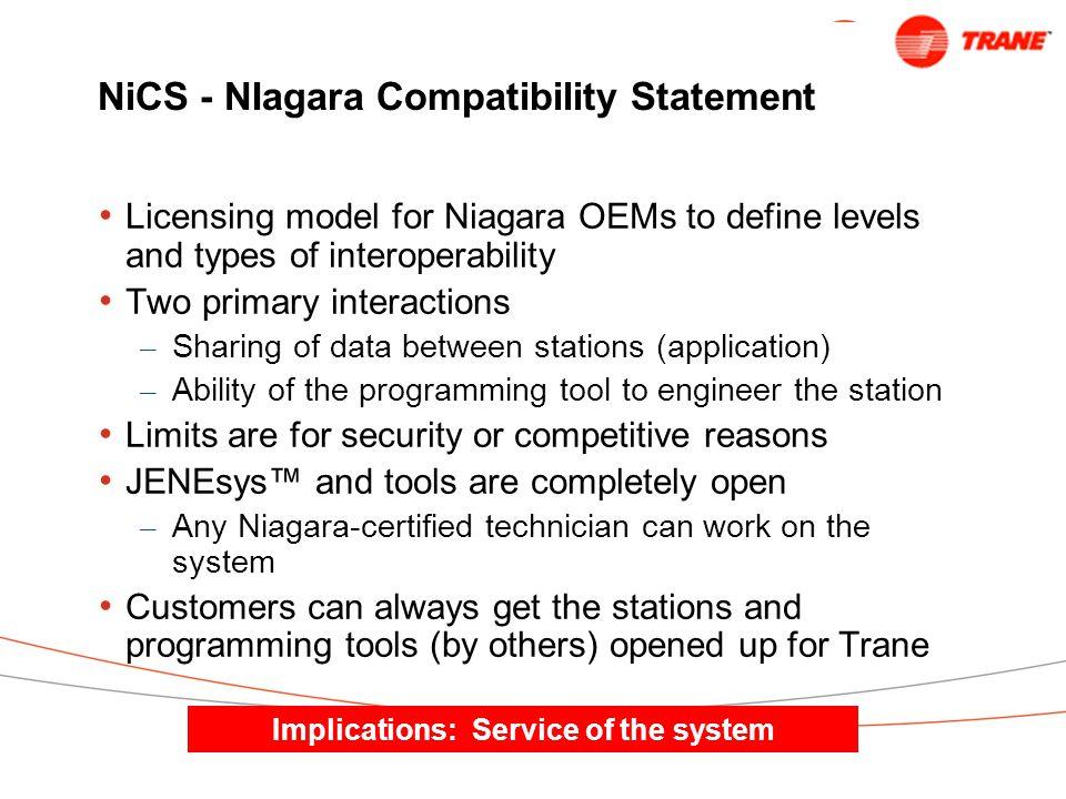 NiCS - NIagara Compatibility Statement