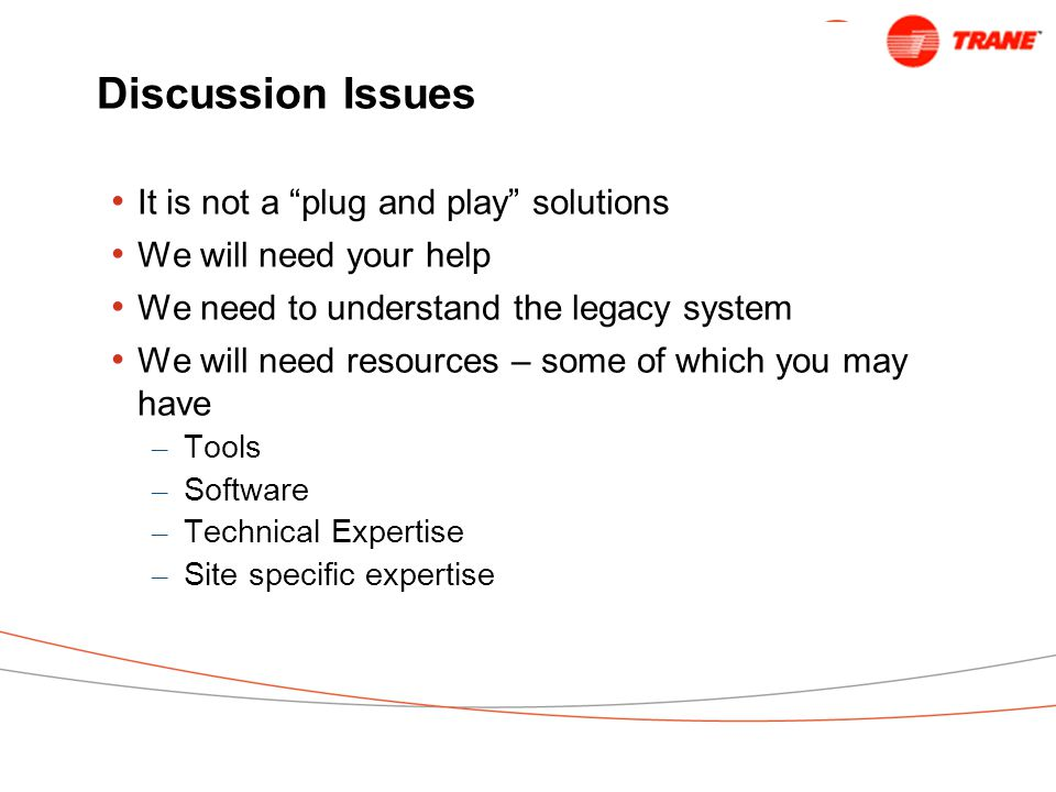 Discussion Issues It is not a plug and play solutions