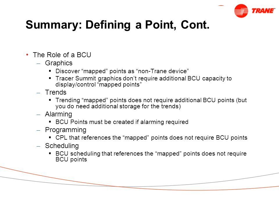 Summary: Defining a Point, Cont.