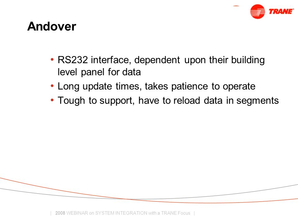 Andover RS232 interface, dependent upon their building level panel for data. Long update times, takes patience to operate.