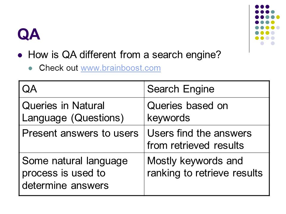 QA How is QA different from a search engine QA Search Engine