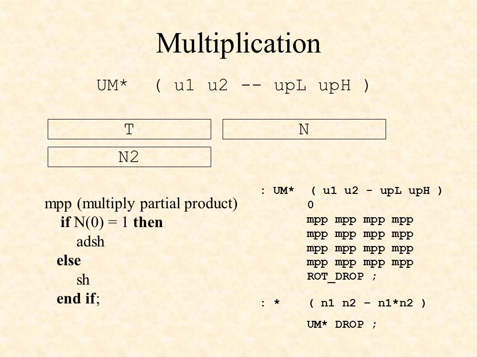 Multiplication UM* ( u1 u2 -- upL upH ) T N N2