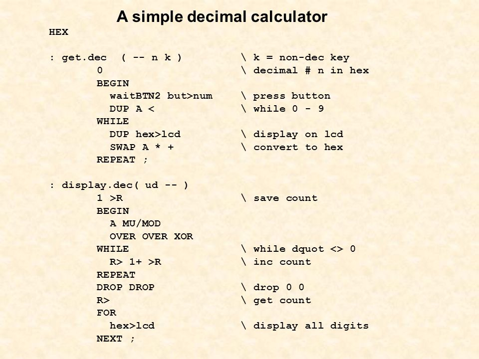 A simple decimal calculator