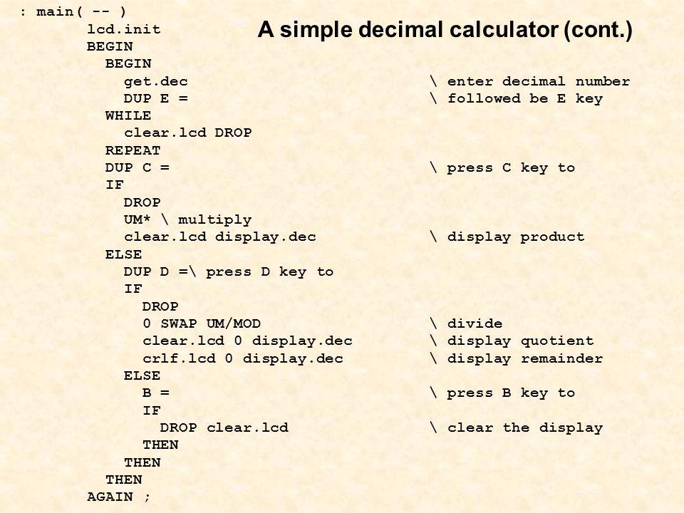 A simple decimal calculator (cont.)