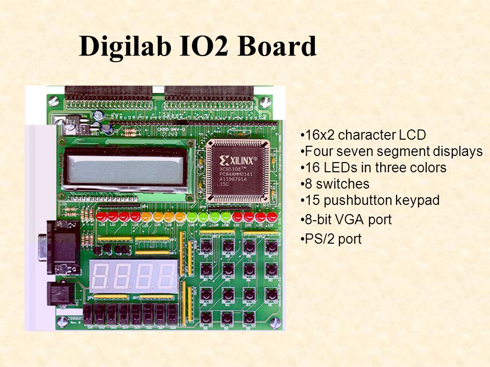 Digilab IO2 Board 16x2 character LCD Four seven segment displays