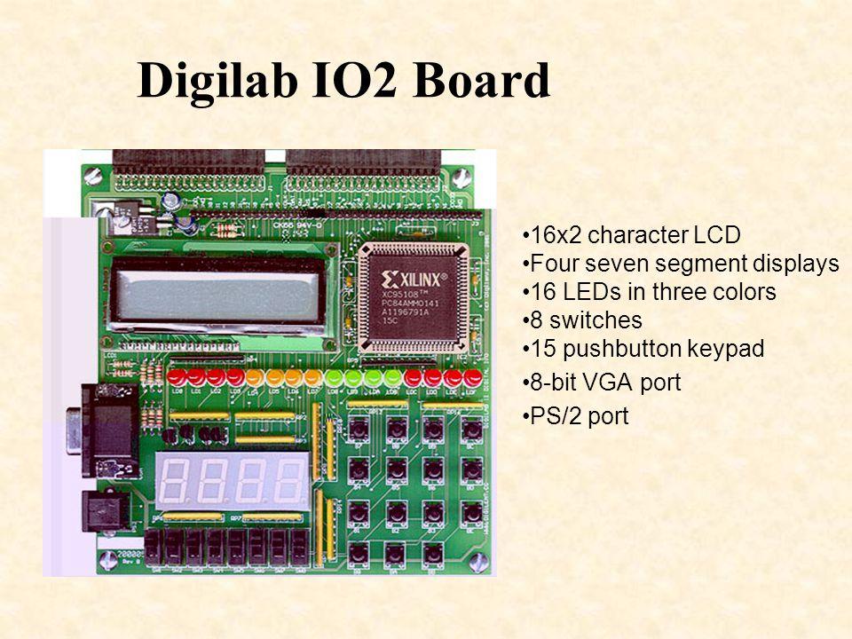 Digilab IO2 Board 16x2 character LCD Four seven segment displays