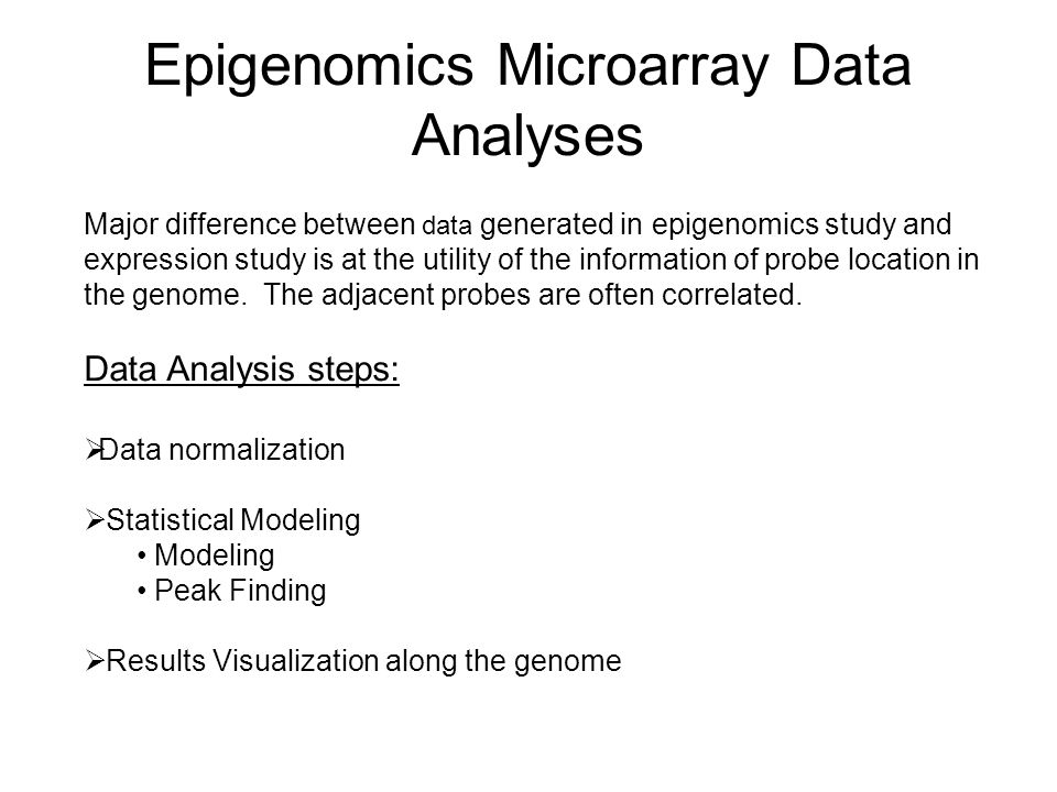 Epigenomics Microarray Data Analyses