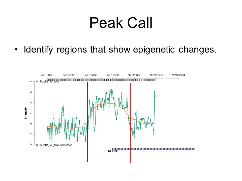 Peak Call Identify regions that show epigenetic changes.