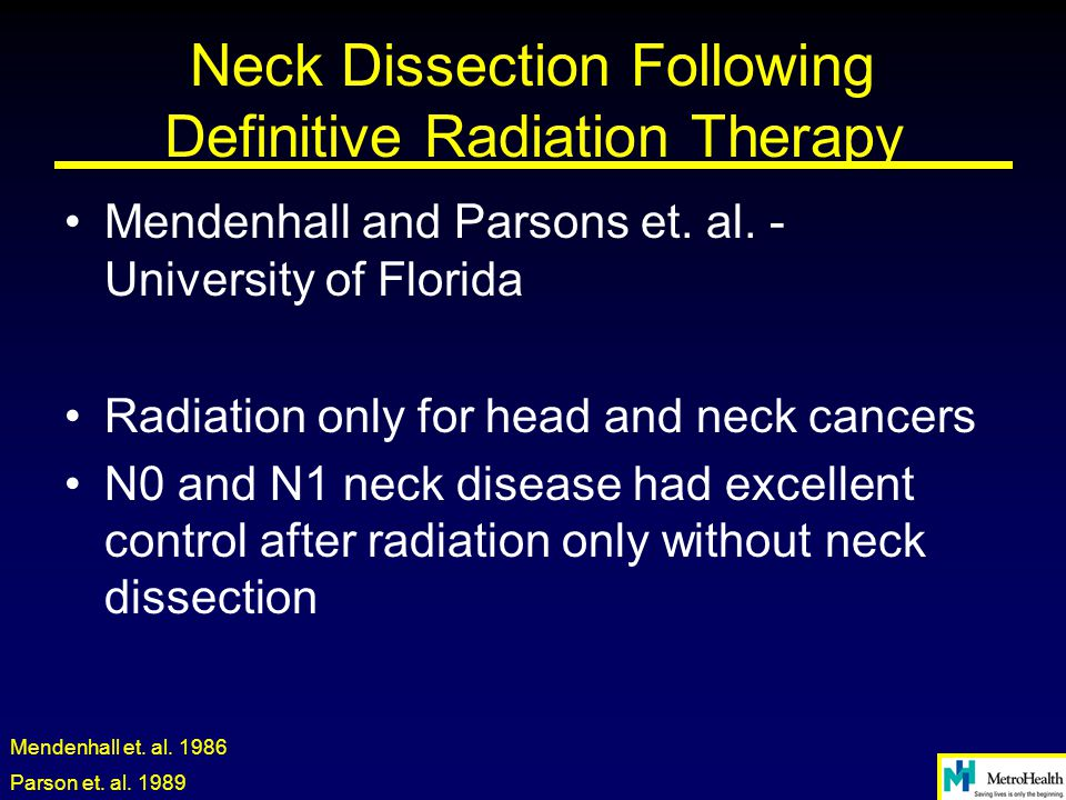 Neck Dissection Following Definitive Radiation Therapy