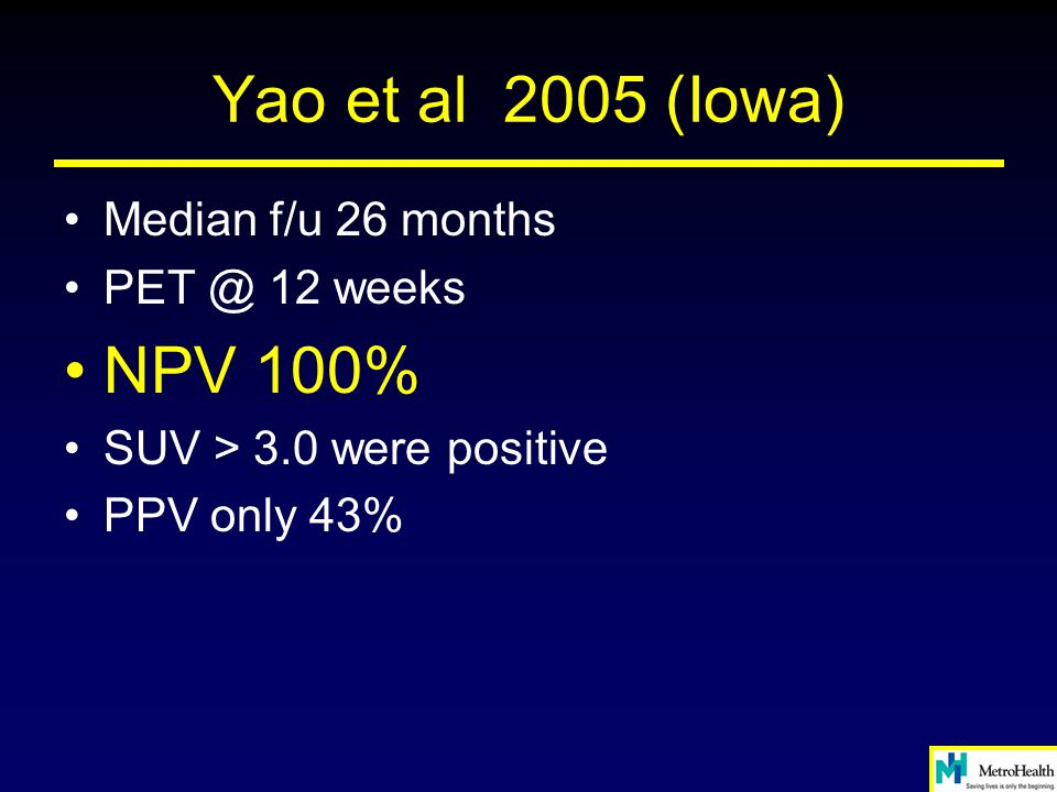 Yao et al 2005 (Iowa) NPV 100% Median f/u 26 months 12 weeks