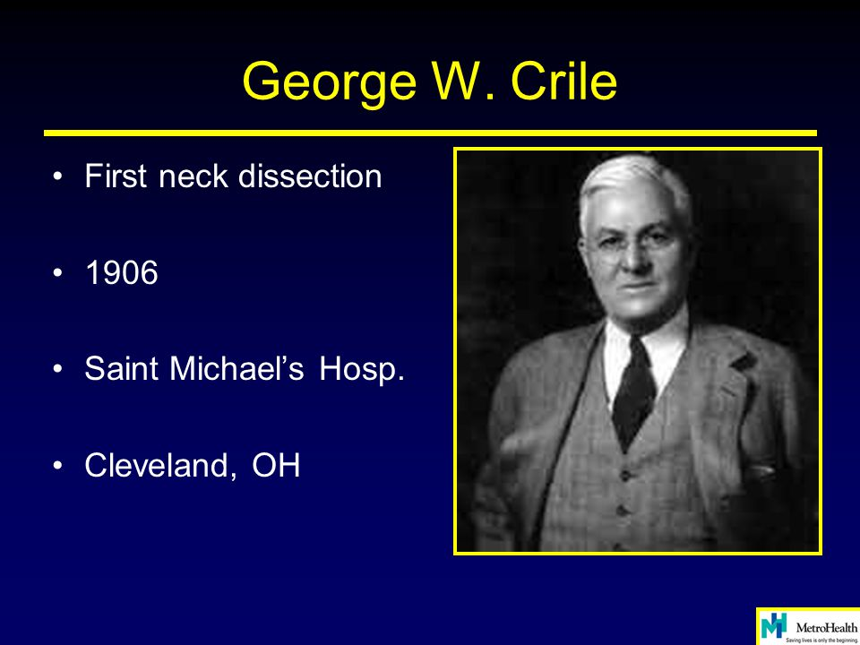 George W. Crile First neck dissection 1906 Saint Michael's Hosp.