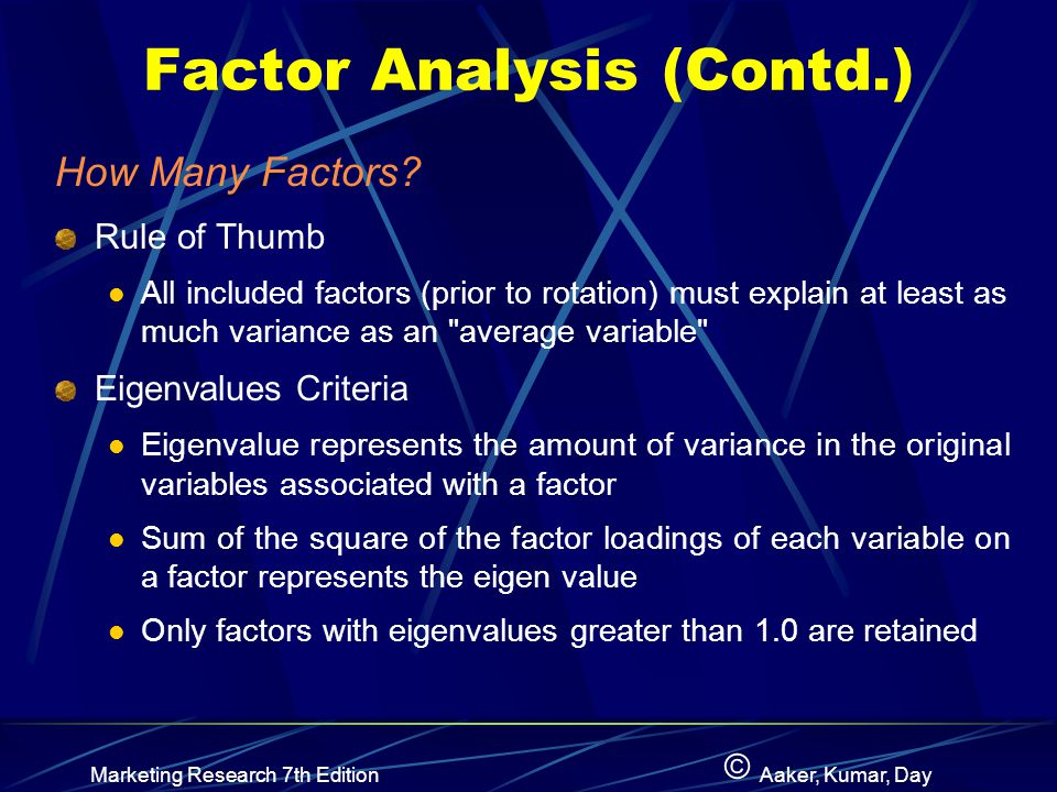 Factor Analysis (Contd.)