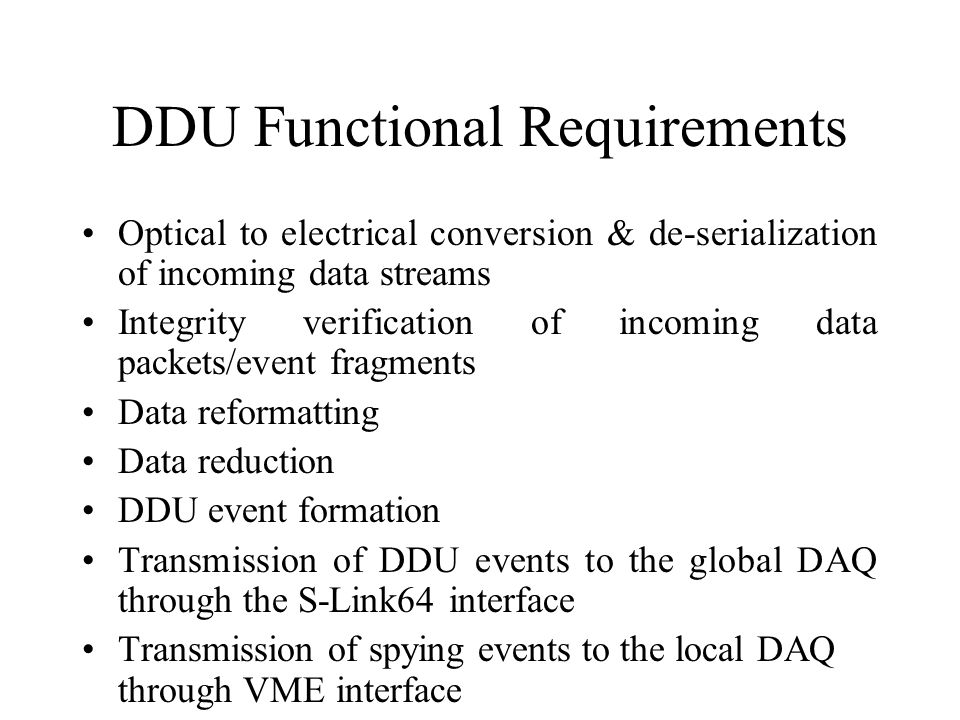 DDU Functional Requirements