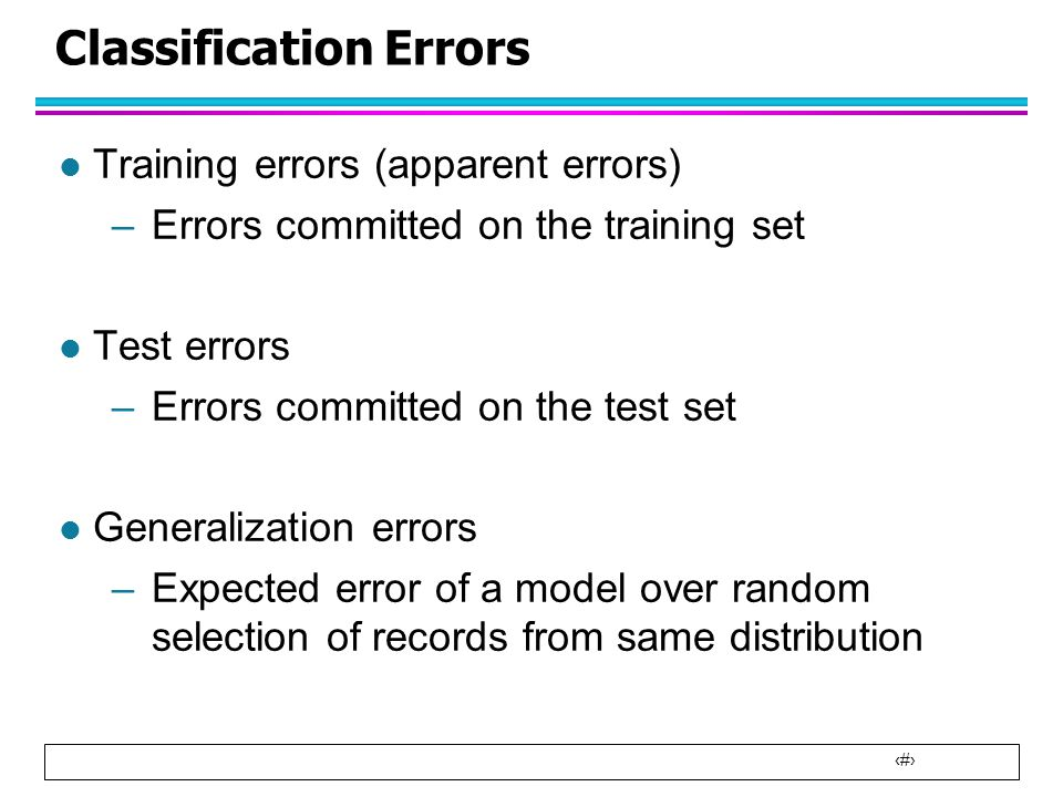 Classification Errors