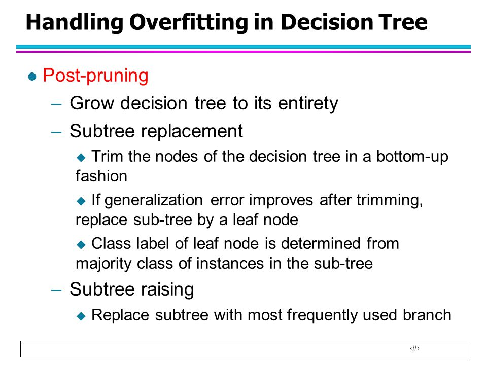 Handling Overfitting in Decision Tree